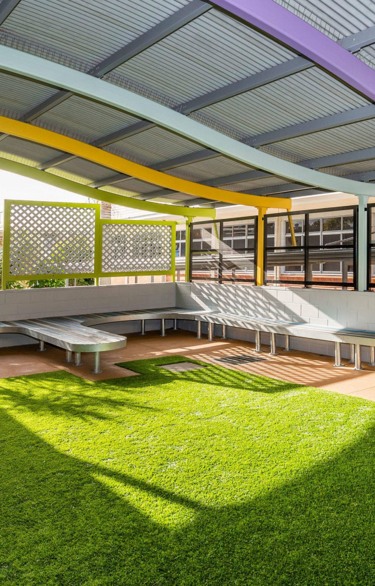 school outdoor seating